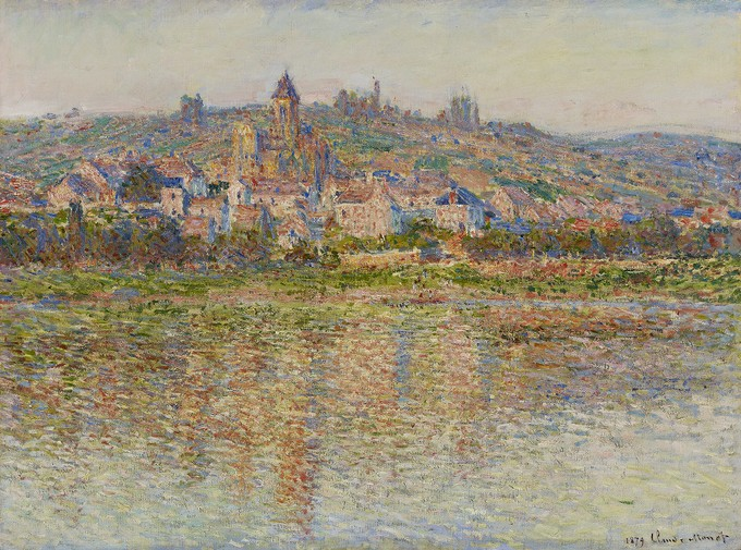An impressionist painting of a town above a river
