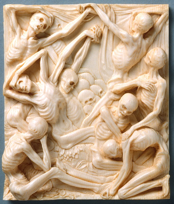 Skeletons carved into ivory