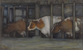 Piet Mondrian, Three Cows in a Pot Stall, c.1898 ‑ 1899