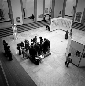 View of Walker Court during the exhibition, featuring the Xerox 6500 copier, 1976.