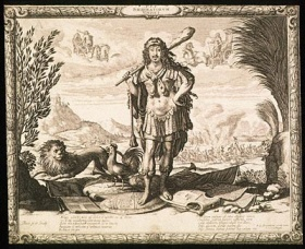 "Abraham Bosse (French, 1602-1676) ""Louis XIII as Hercules"""