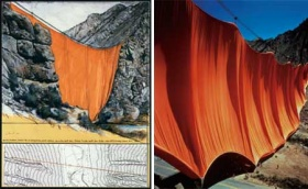 Valley Curtain, Project for Colorado, Grand Hogback, 1971,Valley Curtain, Rifle, Colorado, 1970–72.