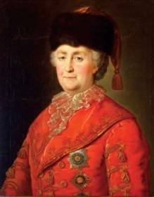 Unknown artist, after portrait by Mikhail Shibanov,  Catherine II in travelling costume, after 1787.
