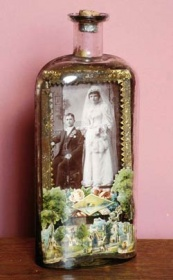 Pop Photographica, Bottle. Wedding Portrait of a Young Couple, c. 1880