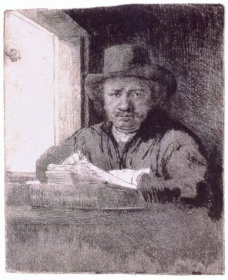 Rembrandt Drawing at a Window, 1648