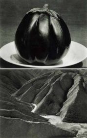 "Edward Weston, ""Eggplant"" 1929 ""Zabriskie Point, Death Valley,"" 1938"