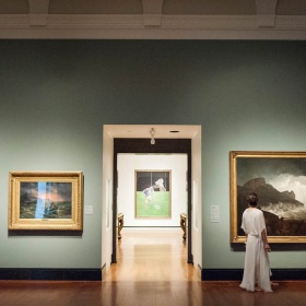 a hallway in the gallery