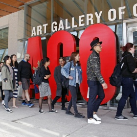 people line up outside the AGO