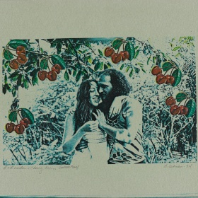 couple under a cherry tree