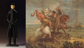 Left image: Haida, Queen Charlotte Islands, British Columbia. Sea Captain Figure, c. 1840. Right image: Paul Kane. Death of Omoxesisisany or Big Snake, 1858 c - 1859.