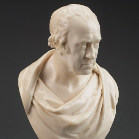 An ivory bust by Cheverton of James Watt