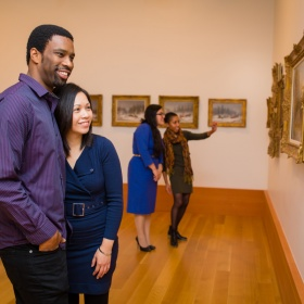 couple looking at art in the galleries