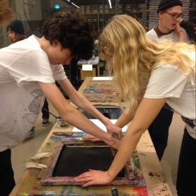 two youth screen printing