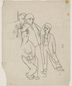 Stanley Spencer, sketch of Four Labourers