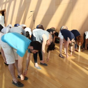 people stretching in galleria italia
