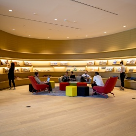 A photo of the AGO reading room outside of the Library and Archives.