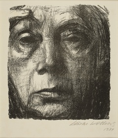 self-portrait in graphite on paper by female german artist Kathe Kollwitz