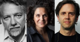 headshots of Anthropocene artists Ed Burtynsky, Jennifer Baichwal, Nick de Pencier