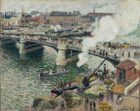 painting of Boieldieu bridge in Rouen