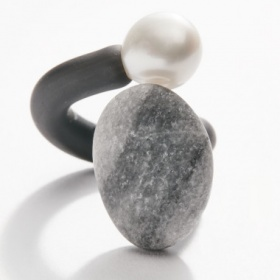 Uta Ottmar Adjustable Pearl and Pebble Ring