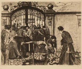 Käthe Kollwitz, Storming the Gate Plate 5 from A Weavers' Revolt