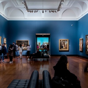 image of ER Wood gallery with visitors, european paintings