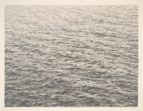 image of ocean waves done in graphite on acrylic ground on paper by artis Vija Celmins