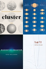 clockwise starting with top left: cluster by Souvankham Thammavongsa, Cassidy McFadzean's Drolleries, heft by Doyali Islam and Magnetic Equator by Kaie Kellough