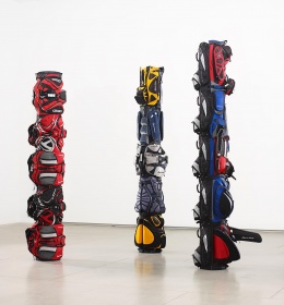 Brian Jungen, three works left to right, 1980, 1970, 1960