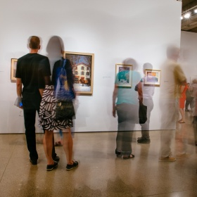 People viewing art in the galleries