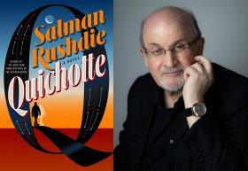 Salman Rushdie and book cover for Quichotte