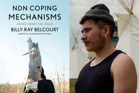 Billy-Ray Belcourt and book cover for NDN Coping Mechanisms