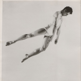 photo of modern dancer and choreographer Merce Cunningham in motion