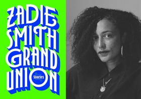 Photo of Zadie Smith, with bookcover for Grand Union