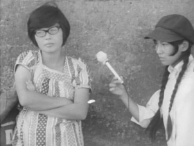 black and white film still of two women