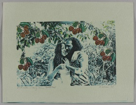 Two people embracing under a cherry tree.