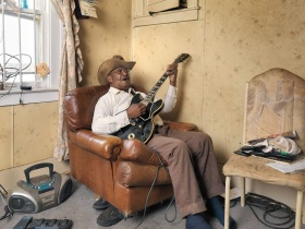 Glemie playing the blues, Westside, Detroit, Artwork by Dave Jordano