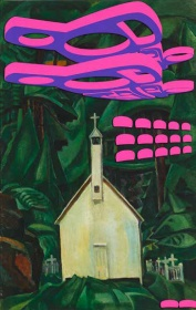 Sonny Assu, Re-Invaders: Digital Intervention on an Emily Carr Painting (Indian Church, 1929),