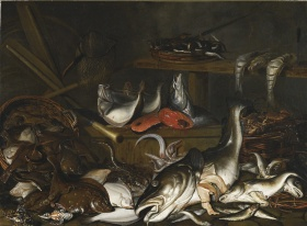 Johannes Pietersz Fabritius, Still Life: Fish, 17th century. Oil on canvas, 110.5 x 150.5 cm. Purchase, Laidlaw Foundation, 1966. © Art Gallery of Ontario. 65/55.