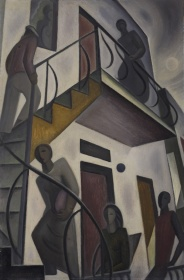 Marian Dale Scott, Tenants, 1939–1940. Oil on board, 63.6 x 42 cm. Gift from the J.S. McLean Collection, by Canada Packers Inc., 1990. © Art Gallery of Ontario. 89/920.