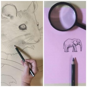 drawing of mouse on the left and elephant on the right