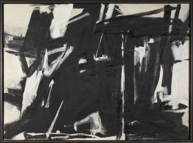 Image of painting with black and white lines.
