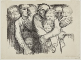 Lithograph print depicting a group of women holding children, by german artist Kathe Kollwitz