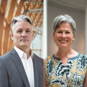Headshots of speakers Julian Cox, in grey blazer and white shirt, and Christina Olsen in a yellow and blue patterened top