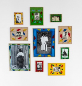 Malick Sidibé, group of gelatin silver prints in painted glass frames