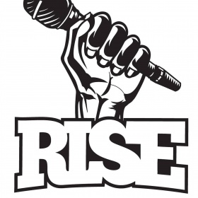 "Black and white graphic of a hand holding a microphone. The word, ""rise"" is overlayed in block letters."