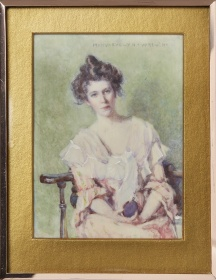 Mary E. Wrinch, portrait of a woman holding a flask, watercolour
