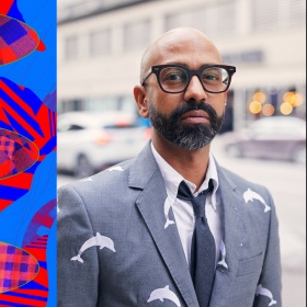 "(Left) An abstract graphic featuring a red and blue checkered pattern. Green text is overlaid in the centre reading, ""The Left Space."" (Right) Artist, Brendan Fernandes, stands wearing a suite, tie and black glasses."