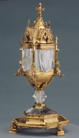 Unknown, Franco-Flemish. Reliquary of the Holy Thorn, 14th century. Silver-gilt and Fatimid rock crystal, Overall: 18.5 x 9 x 9 cm. The Thomson Collection at the Art Gallery of Ontario.  AGOID.29088