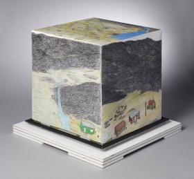 Shuvinai Ashoona, Composition (Cube), 2009. Coloured pencil, black porous-point pen on paper. Overall: 41.9 x 39.4 x 39.4 cm. Purchased with the assistance of the Joan Chalmers Inuit Art Purchase Fund, 2009. © Shuvinai Ashoona / Courtesy of Dorset Fine Arts 2009/925180.